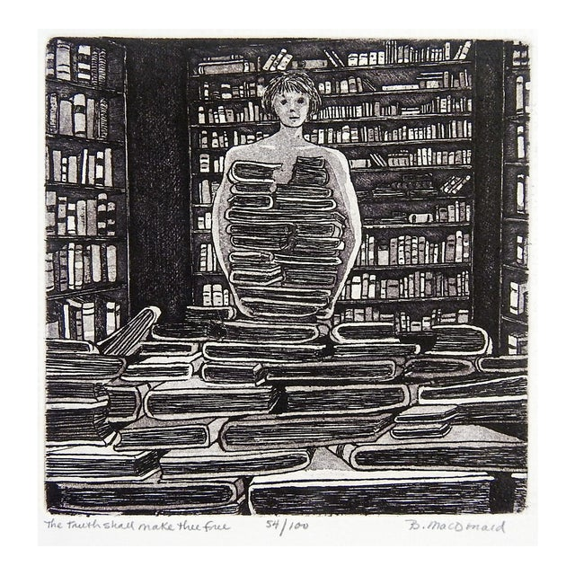 Betty McDonald Library & Books Etching For Sale