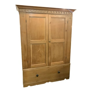 Late 19th Century English Pine Armoire For Sale