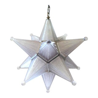Vintage Mid-Century Glass Moravian Star Pendant Light For Sale