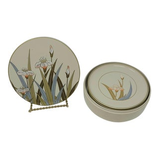 Vintage Otagiri Japanese Lacquerware Hand Painted Container With 6 Coasters Features Iris For Sale