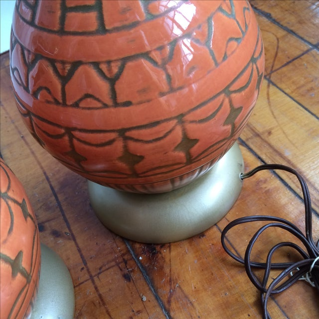 Mid Century Glazed Lamps - Pair - Image 5 of 6