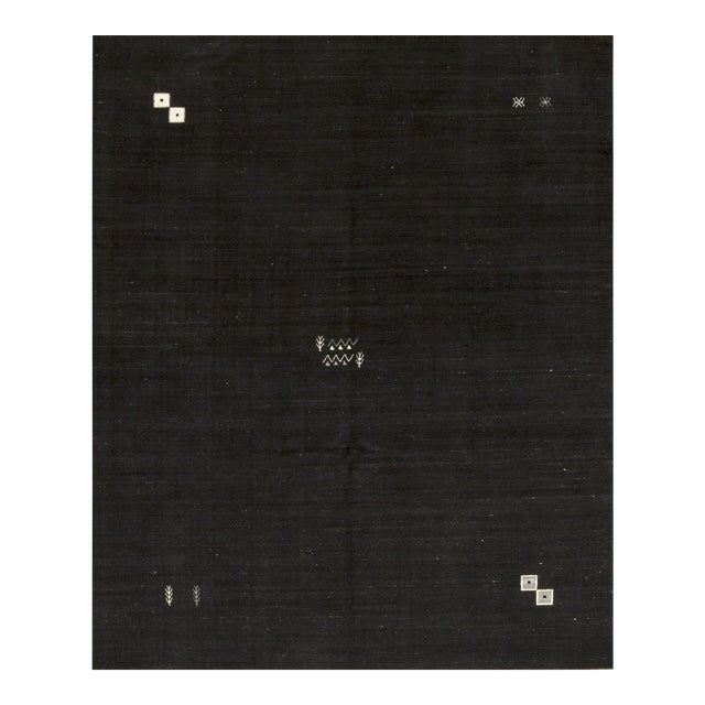 """Contemporary Hand Woven Brown Wool Rug - 7'7"""" X 9'4"""" For Sale"""
