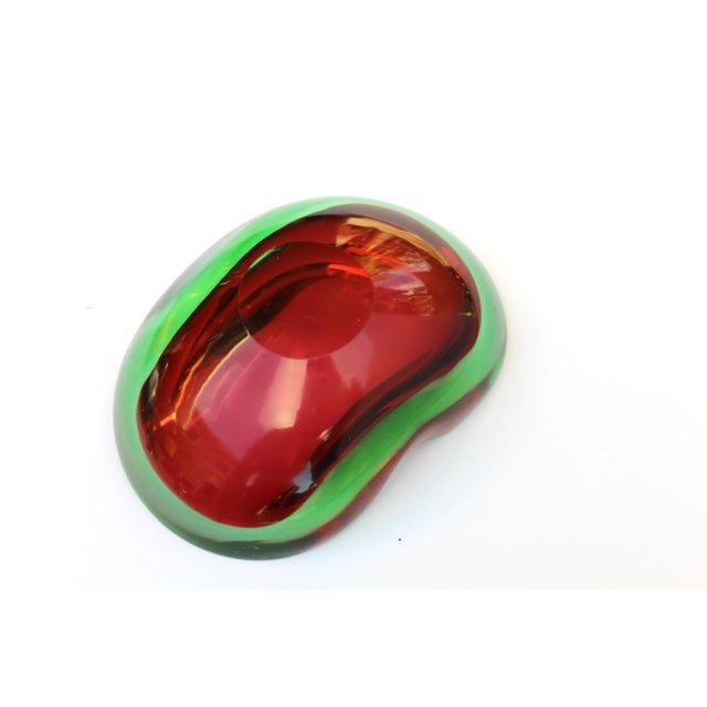 Murano Glass Red and Green Sommerso Ashtray & Bowl, 1960's For Sale - Image 10 of 13