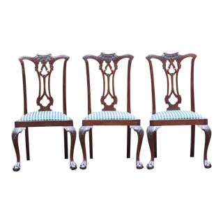 Vintage Mid-Century Mahogany Chippendale Dining Room Chairs- Set of 3 For Sale