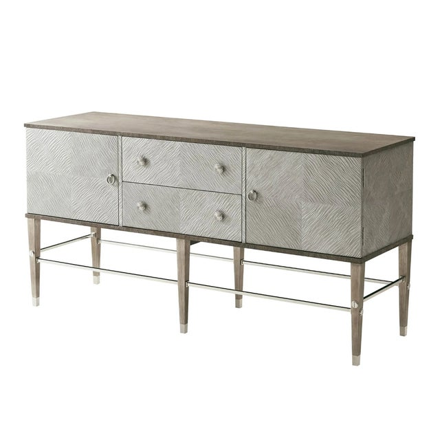 Silver Modern Leather and Oak Console Cabinet For Sale - Image 8 of 8