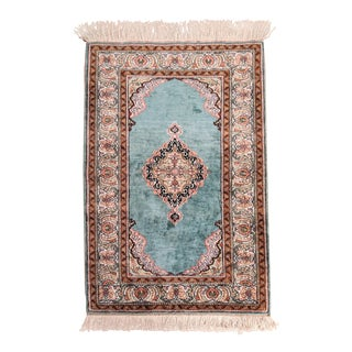 """Double Knot Finest Green Handknotted Wool Rug (35"""" X 52"""") For Sale"""