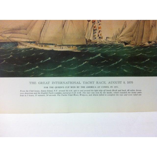 """American Vintage Currier & Ives Chronicles of America Color Print, """"The Great International Yacht Race - August 8, 1870"""" Circa 1960 For Sale - Image 3 of 4"""