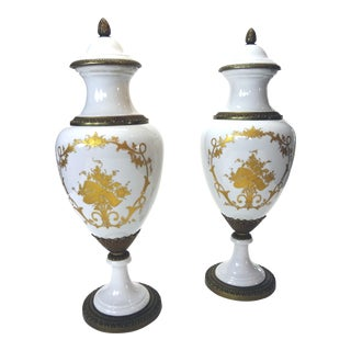 French Porcelain and Bronze Urns - a Pair For Sale