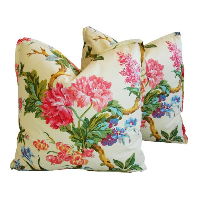Brunschwig & Fils Coligny Spring Floral Pillows - a Pair - Image 1 of 10