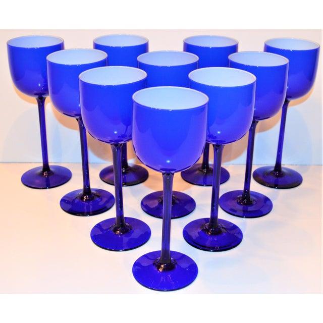Blue Carlo Moretti White Cased Cobalt Stemware - Set of 10 For Sale - Image 8 of 9
