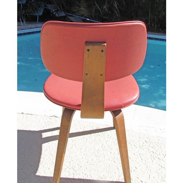 Mid-Century Modern Thonet Vintage 1960 Bent Plywood Coral Vinyl Chair For Sale - Image 3 of 6