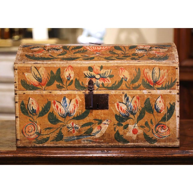 French 18th Century French Normand Painted Wedding Box With Bird and Floral Motifs For Sale - Image 3 of 12