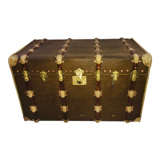 1920s Vintage French Brass Hardware Trunk For Sale