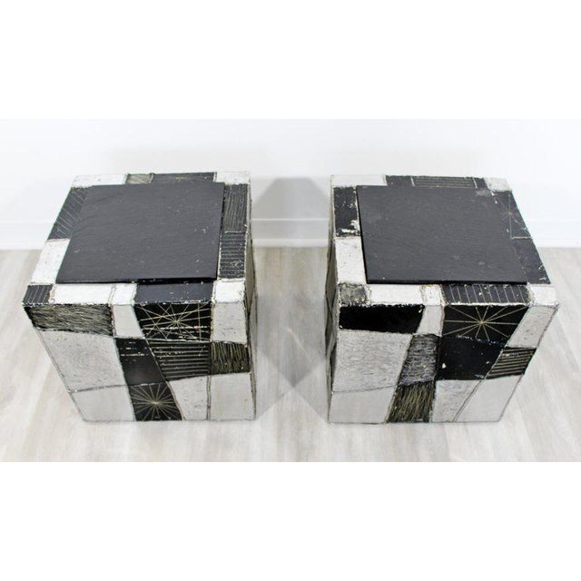 Mid-Century Modern Mid-Century Modern Pair of Paul Evans Argente Cube Chrome Slate Side End Tables For Sale - Image 3 of 8