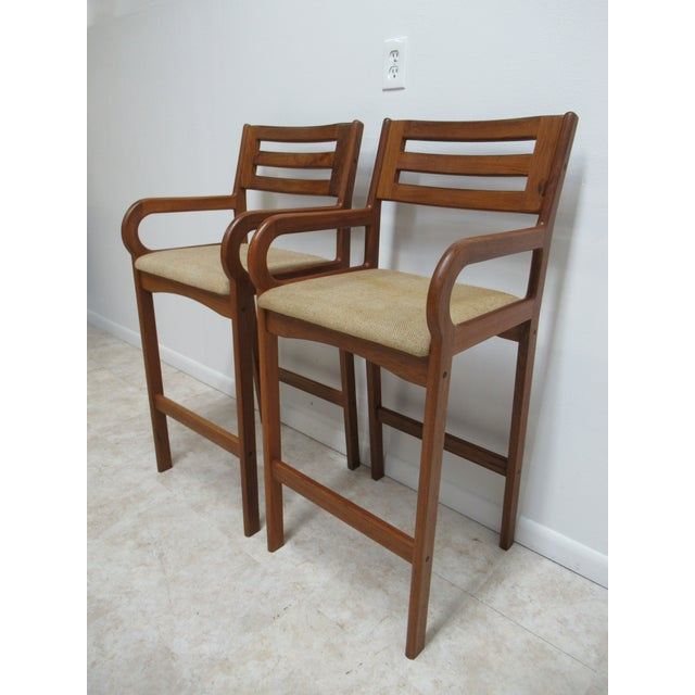 Danish Modern Danish Modern Teak Ladder Back Bar Counter Arm Stools - a Pair For Sale - Image 3 of 12