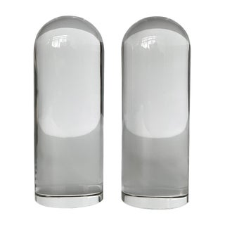 Pair of Solid Glass Bullet Shaped Bookends or Sculptures For Sale