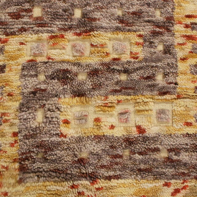 Anglo-Indian Rug & Kilim's Scandinavian-Inspired Geometric Golden-Yellow Gray Wool Rug For Sale - Image 3 of 6