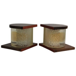 Pair of Lucite and Wood Bookends For Sale