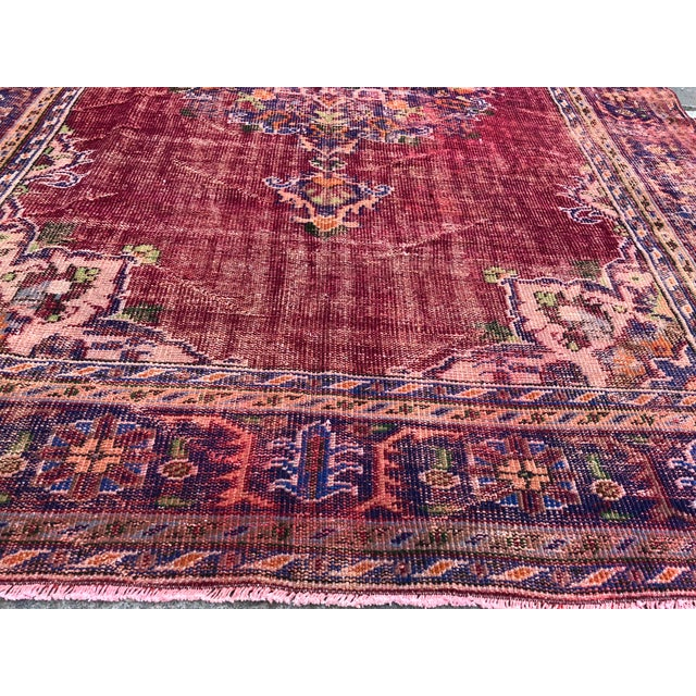 Textile Antique Handwoven Turkish Red Wool Oversize Rug - 7′1″ × 9′10″ For Sale - Image 7 of 9