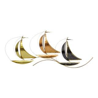 Higgins Brutalist Copper and Brass Clipper Ship Boat Wall Art Sculpture For Sale