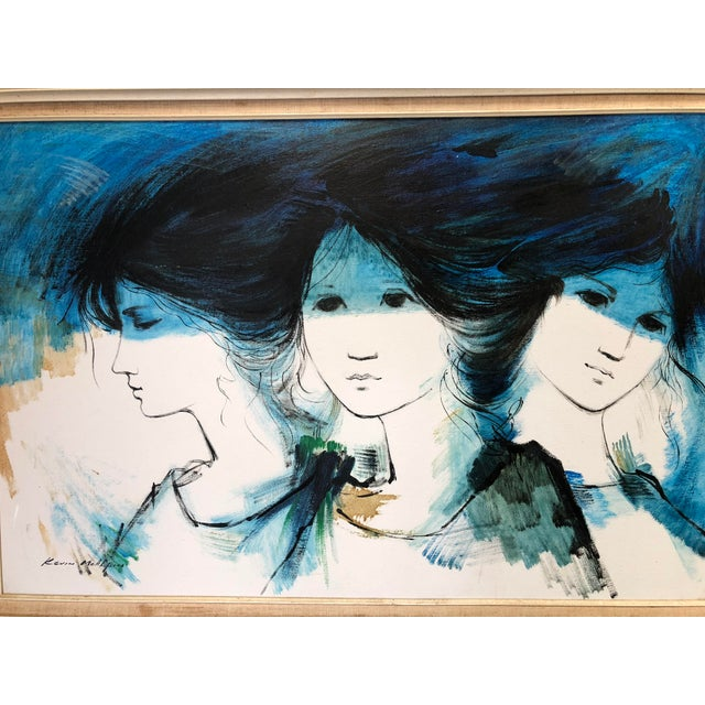 This is a vintage mid-century oil on canvas painting by listed artist David McAlpin. The piece depicts a beautiful subject...