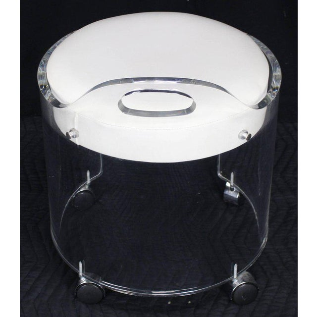 Plastic Round Bent Lucite Upholstered Bench Stool on Wheels For Sale - Image 7 of 10