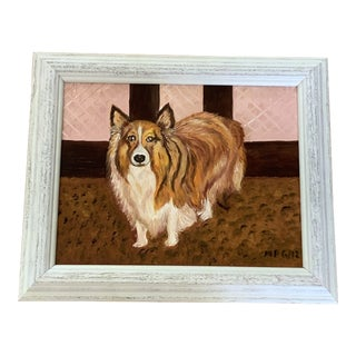 Vintage Framed Dog Painting For Sale