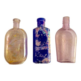 Three Antique Medicine Bottles, Rainbows For Sale