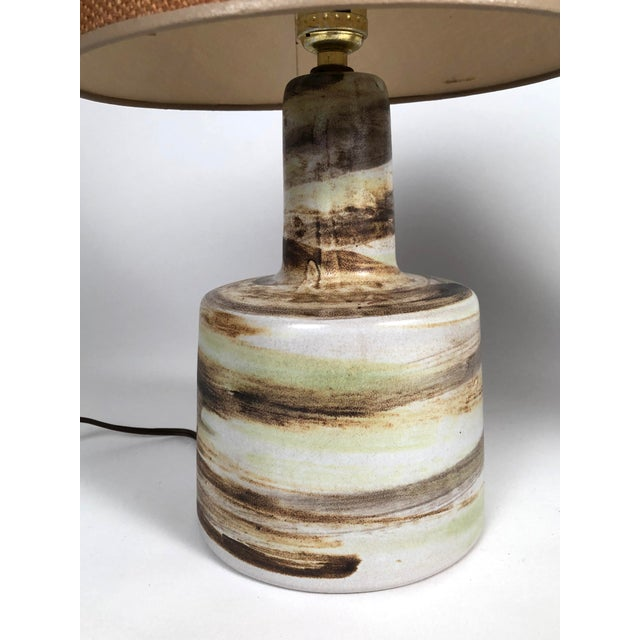 1960s Mid-Century Modern Martz Hand Painted Art Pottery Lamps - a Pair For Sale - Image 5 of 11