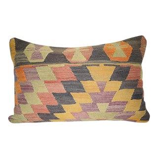 Handmade Kilim Pillow Cases, Turkish Geometrical Design Lumbar Pillow, Vintage Anatolian Kilim Lumbar Pillow 16'' X 24'' (40 X 60 Cm) For Sale