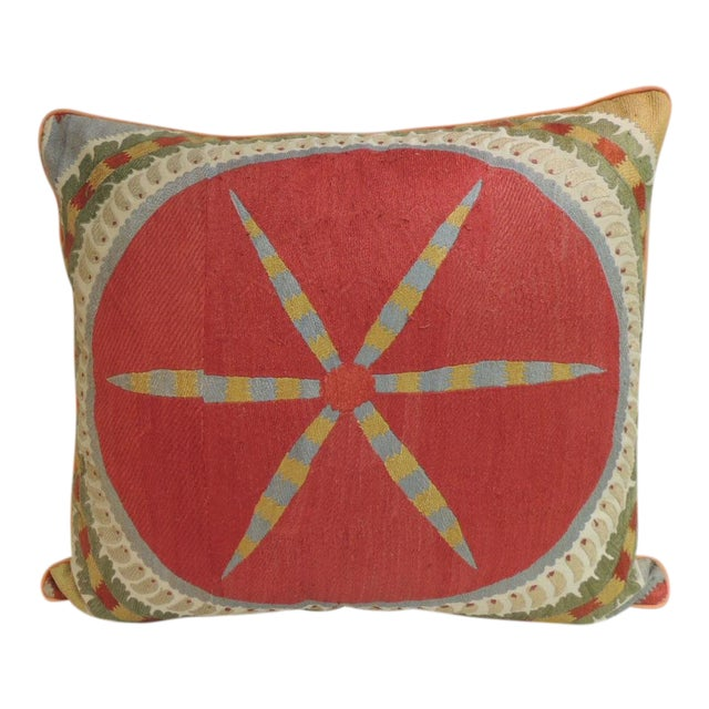 Large 19th Century Embroidery Suzani Multicolor Decorative Floor Pillow For Sale