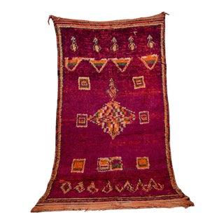 "Boujad Vintage Moroccan Rug, 5'9"" X 10'2"" Feet For Sale"