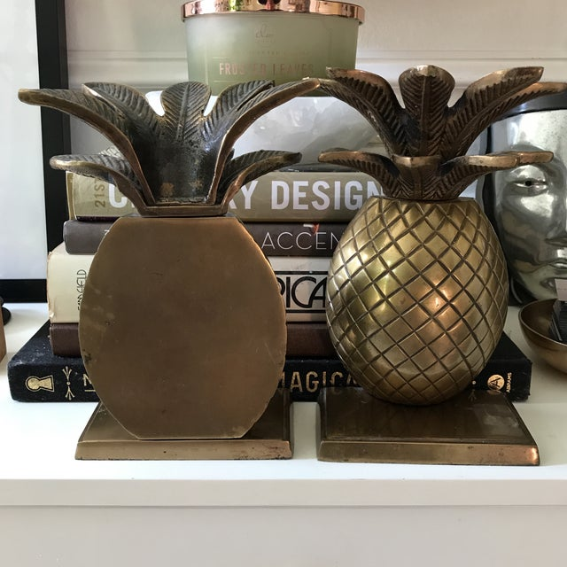 Vintage Solid Brass Pineapple Bookends - A Pair For Sale - Image 4 of 5