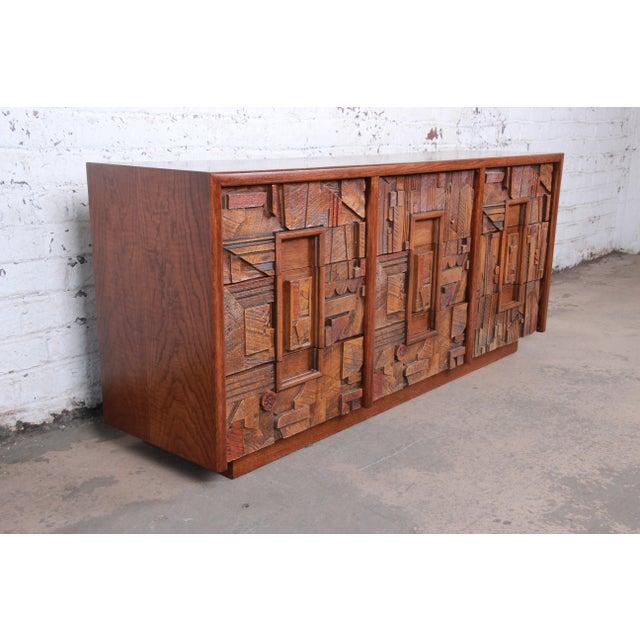Lane Furniture Lane Pueblo Brutalist Mid-Century Modern Oak Long Dresser or Credenza, 1970s For Sale - Image 4 of 13