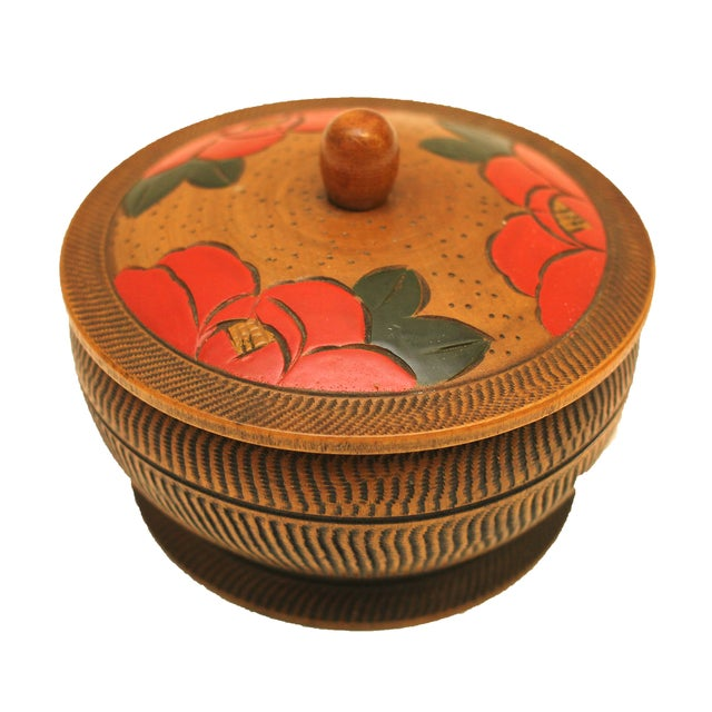 Offered is a vintage hand-painted and hand-carved wooden trinket box. Made in mid century Japan.