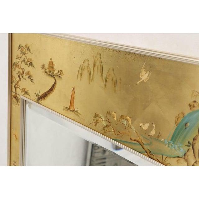 Mid-Century Modern La Barge Reverse Painted Gold Leaf Rectangular Frame Decorative Mirror For Sale - Image 3 of 13