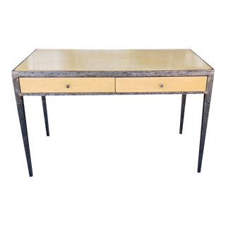 After Jean-Michel Frank Contemporary Decorative Wrought Iron & Birdseye Maple 2 Drawer Writing Desk, C1970s For Sale