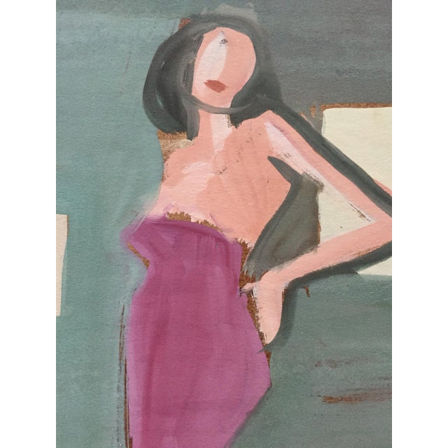 "Mid Century Bay Area Figurative Painting ""Angelina"" For Sale - Image 4 of 7"