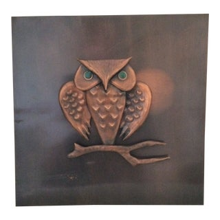 Original Signed Rudolf Hajnal Copper Owl on Sheet Copper From European Fine Copper Studios For Sale