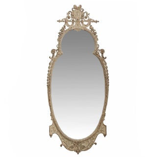 Antique White Painted and Carved Pier Wall Mirror, Early 20th Century For Sale