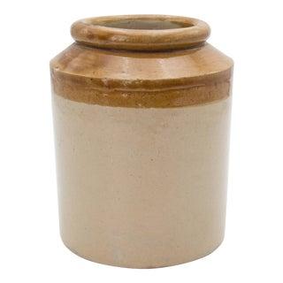 Antique English Stoneware Glazed Crock For Sale