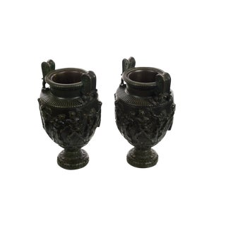 Pair of 19th century Monumental French Neoclassical Bronze Urns For Sale