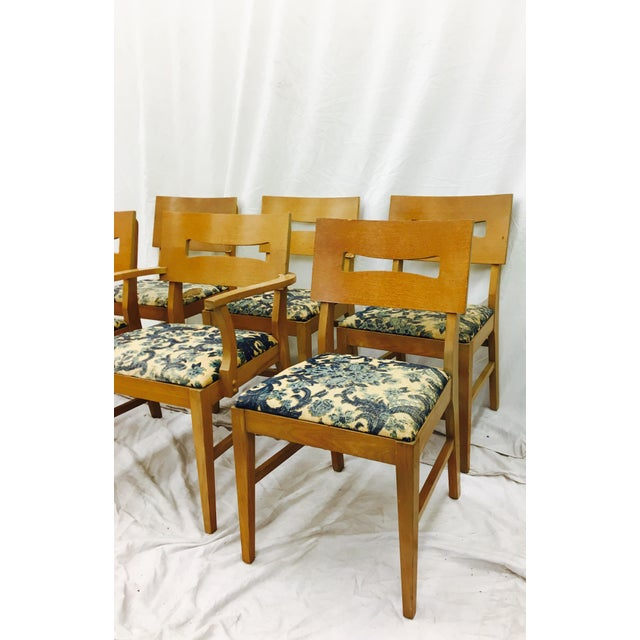 Fabulous Set of 6 Vintage Mid Century Modern Dining Chairs. Great Sculptural look with square backs and seats. Blonde wood...