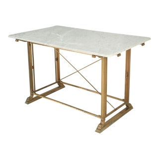 Kitchen Island Made of Solid Bronze with a Carrera Marble Top For Sale