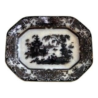 19th Century Antique Flow Black Mulberry Platter For Sale