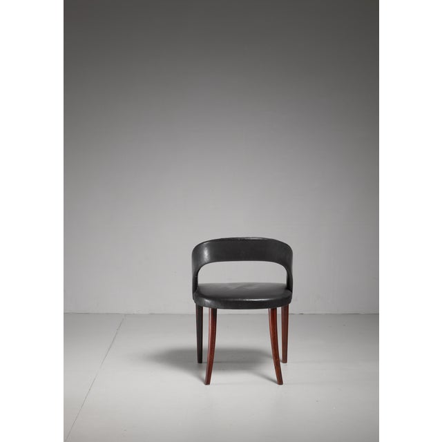 1950s Frode Holm Rosewood and Black Leather Vanity Chair, Denmark, 1950s For Sale - Image 5 of 6