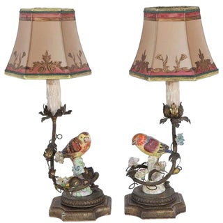 19th C. French Porcelain Bird Lamps For Sale