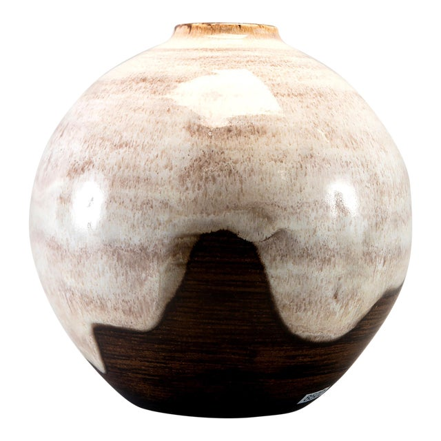 Large Ceramano Mid Century Brown and Cream Art Pottery Vase For Sale