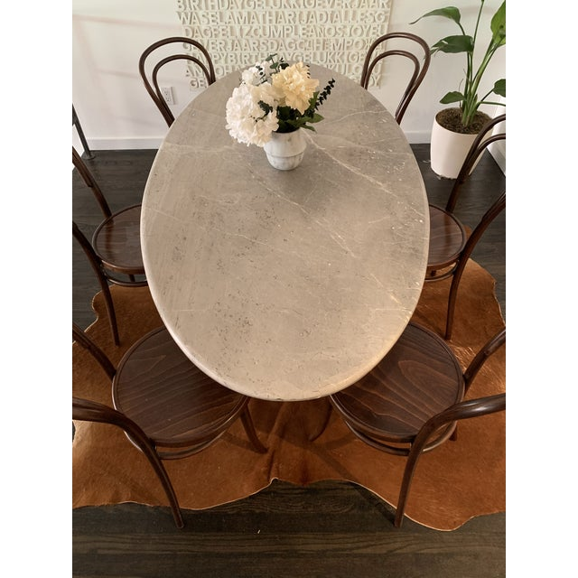 Vintage 1970s Italian Ovoid Marble Dining Table For Sale - Image 4 of 9
