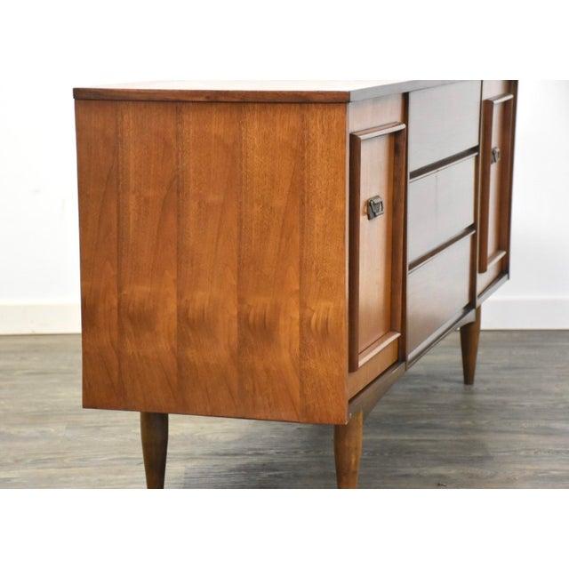 Brown Walnut & Brass MCM Long Dresser For Sale - Image 8 of 11